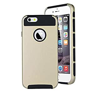 """For iphone 6 Plus (5.5 """") Case, FocusUp Dual Bumper 2in1 Soft Flexible TPU + PC Ultra Slim Thin Anchor Frame Design Defender Protective Cover For Apple iphone 6 plus 5.5 inch (gold black)"""