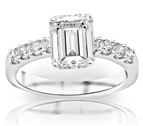 Gold Classic Prong - GIA Certified 1.21 Carat Emerald Cut/Shape 14K White Gold Classic Prong Set Diamond Engagement Ring with a 0.71 Carat, D-E Color, VS1-VS2 Clarity Center Stone