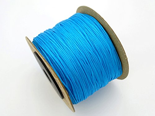 jennysun2010 1.5mm Turquoise Blue Quality Satin Silk Nylon Braid Rattail Cord Knotting Thread Rope Beading Bracelet Necklace Jewelry Design Crafts (130 Meters for 1 ()