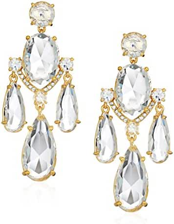 Kate Spade New York Womens Crystal Cascade Statement Earrings