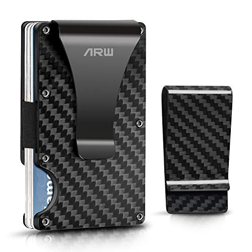 - Carbon Fiber wallet, Minimalist money clip slim metal wallet credit card holder men billfolds front pocket RFID Blocking wallet male EDC wallet