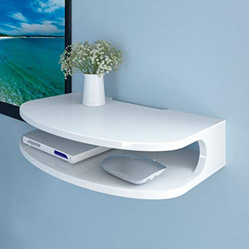 Modern Wall Mounted Media Console Floating TV Shelf TV Stand Bracket/Holder/Stand for WiFi Router TV Box Set Top Box Speaker Streaming Device Game Console (Color : White) (Drawer Shelf Shop Stand)
