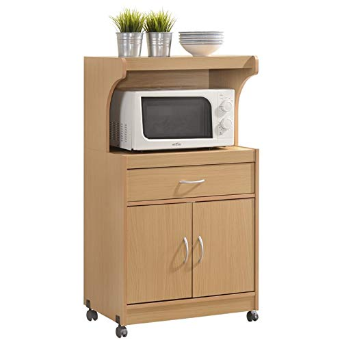 (Pemberly Row Microwave Kitchen Cart with Utenstil Drawer and Storage Cabinet in Beech )
