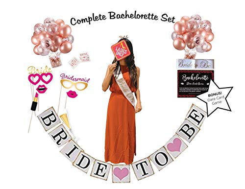 Bridal Shower Decorations, The Bachelorette Party Supplies Decorations, Bachelorette Adult Party Games- BONUS: Dare Card Adult Board Games For Groups & Bridal Shower Photo Booth Props]()