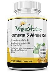 Vegan Omega-3 vetzuren van algenolie van Vegan Vitality. DHA 400 mg per capsule. Voedingssupplementen geschikt voor veganisten. 60 capsules. zonder visolie, genetisch en glutenvrij