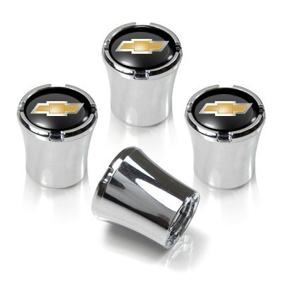 - Chevrolet Chrome & Black Valve Stem Caps w/Gold Bowtie Logo - Set of 4