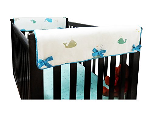 2 Piece 100% Cotton Side Crib Rail Guard Cover/Wrap 29.5'' x 17.5'' for Your Teething Baby,Padding,Cute, Reversible, Machine Washable, Fits Most Standard Narrow & Modern Wide Crib Rails by KAI&HIRO (Image #1)