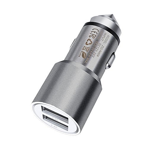 Price comparison product image I-Sonite (Grey) Quick Charge Dual Port USB Full Aluminium Cased Car Charger Adaptor (3.1A/24W) With Break Glass Safety Hammer For Zte Blade A2 Plus