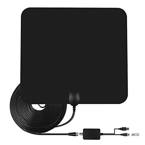 TV Antenna,50 Mile Range Amplified HDTV Antenna with Detachable Amplifier Signal Booster and 16.5 FT High Performance Coaxial Cable -Large Black (Small)