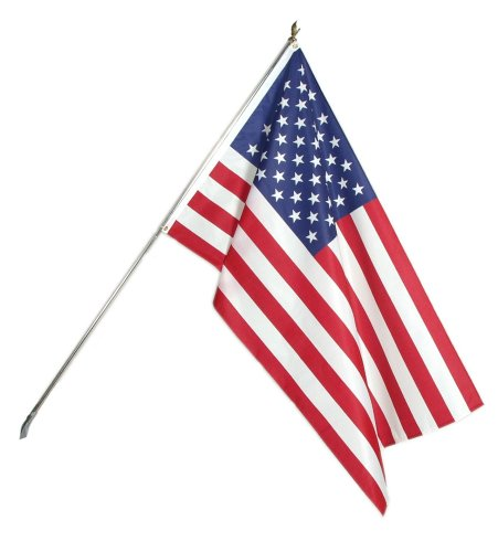 American Flag, Outdoor Kit - 3 x 5 Foot Flag with 6 Foot Tin Plated Pole (Gold Eagle Flagpole Ornament)