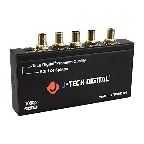 (J-Tech Digital Premium Quality SDI Splitter 1x4 Supports SD-SDI, HD-SDI, 3G-SDI up to 1320 Ft (1 Input and 4)