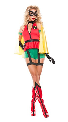 Exclamation Point Halloween Costume (Starline Women's Sidekick Girl Sexy Cosplay Costume with Mask, Red/Yellow/Green, Large)