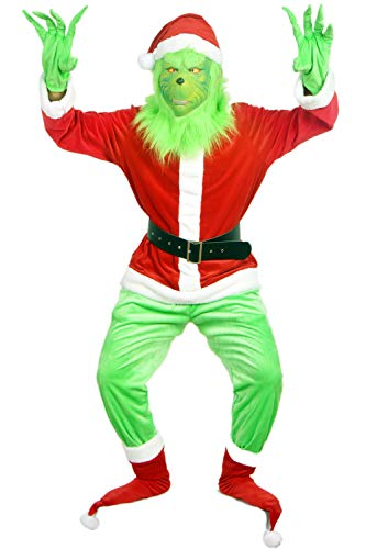 Aiyee Deluxe Grinch Mask with Santa Hat Shoes Gloves Costume Suit for Christmas Outfit Prop Cosplay Suit (XXL:Height 73''/185cm, Costume with Mask) -
