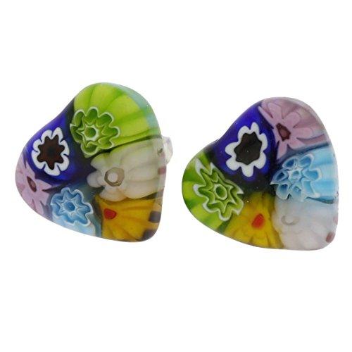 Glass Heart Earrings Free Ship - GlassOfVenice Murano Glass Millefiori Heart Stud Earrings