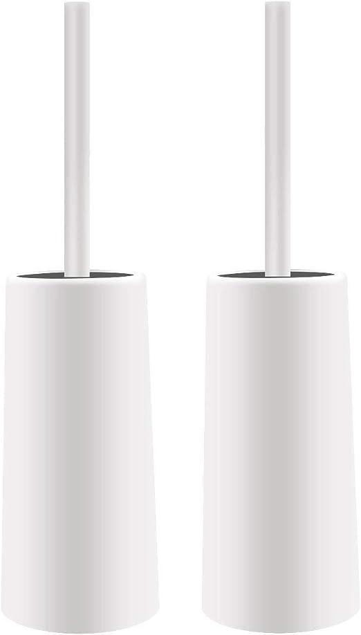 Port/átil Cepillo de Pl/ástico Mango Largo Ba/ño de Inodoro de Scrub Cepillo de Limpieza Topsky Escobilla de Ba/ño Blanco 38cm 2 Pack