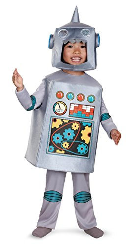 Disguise Artsy Heartsy Retro Robot Costume, Silver/Red/Blue/Yellow, Large