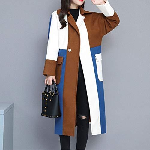 Contraste Lana Windbreaker Costura Abrigo Chaqueta Suelta Warm Keep Otoño Coats Color De Mujer Long Invierno White q5nrArIx