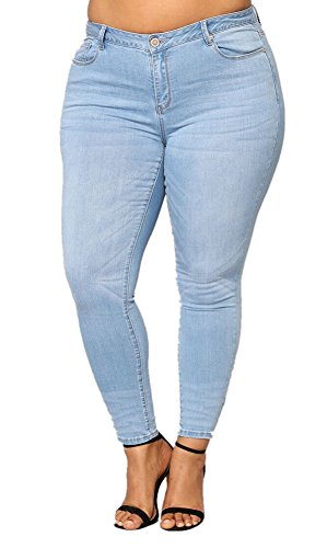 Tengfu Women's Classic Plus Size Stretch Curvy Fit Tapered Skinny Jean Leggings, Blue 509, 16