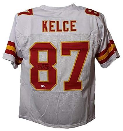 sports shoes 4f92d 233c2 Travis Kelce Autographed/Signed Kansas City Chiefs Size XL ...