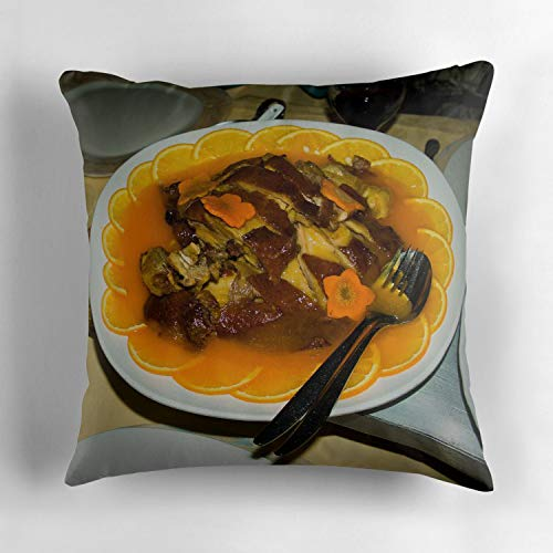 Uwwrticm Roast Peking Duck with Orange Sauce Throw Pillow Case Cover 18 x 18 Inches Soft Cotton Canvas Home Decorative Cushion Cover for Sofa and Bed 18x18 Inch ()