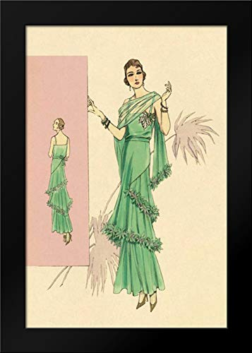 (Playful Green Evening Gown Framed Art Print by Vintage Fashion)