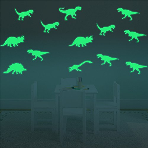 FLY SPRAY 9pcs Creative Luminous Wall Decorative Dinosaur Sticker Glow in the Dark Light Decor Removable Vinyl Decals Mural Baby Nursery (Outside Decorating Ideas)
