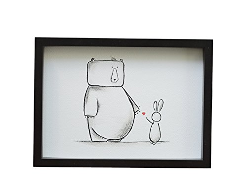 Bear & Bunny Print Kids Wall Art, Nursery Decor, Friendship Love Anniverary Gift