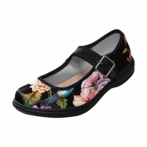 Jane 15 Walking Multi Shoes Mary Flats Comfort InterestPrint Womens Casual Fwtn7