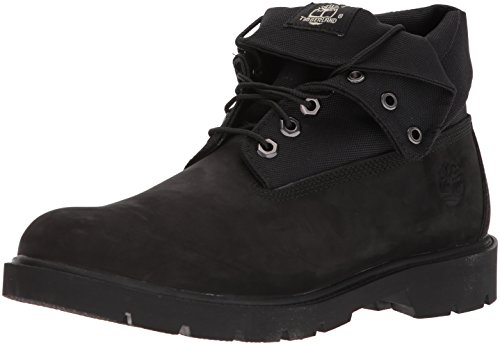Timberland Basic Single Roll Top Ankle Boot, Black Nubuck/Cordura, 11 Medium US