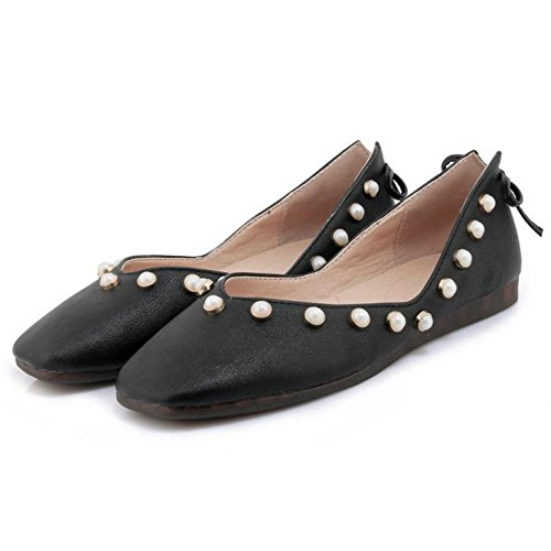 Para RAZAMAZA de Plano Mujer Tacon Zapatos Black rqIqw1Z