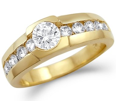 Size- 11 - Solid 14k Yellow Gold Mens CZ Cubic Zirconia Wedding Band Fashion Ring New 1.0 ct