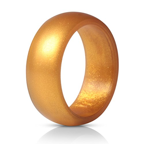 ThunderFit Silicone Ring Wedding Band for Men - 1 Ring (Gold, 9.5-10 (19.8mm)) Chic Comfort Fit Wedding Ring