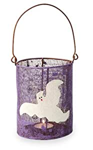 October Hill Hand-Painted Mesh Tealight Candle Holder, Ghost