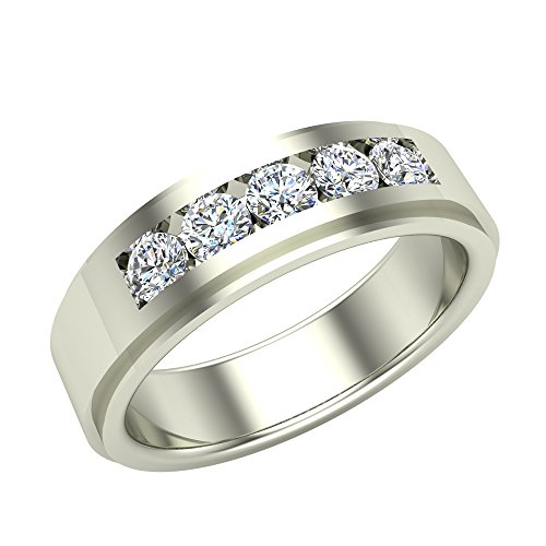 0.75 ct tw Men's Wedding Band 5 Stone Channel Setting 18K White Gold (Ring Size 9.5)