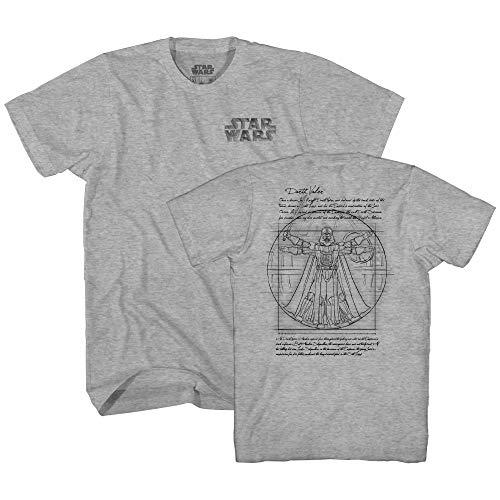 Star Wars Vitruvian Man Darth Vader Leonardo da Vinci Funny Tee Adult Mens Graphic T-Shirt (Heather Grey, Small) ()