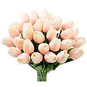 20Pcs Artificial Flowers Real Touch Tulips in White Wedding Bouquets Flowers Fake Tulips PU Plants Flowers Arrangement Bouquet Home Room DIY Centerpiece Party Wedding Decor 11