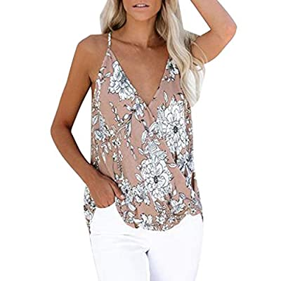 Fitfulvan Women's Blouses V Neck Floral Print Tank Tops Sleeveless Summer Beach Vest Casual Loose Sling Tops at  Women's Clothing store