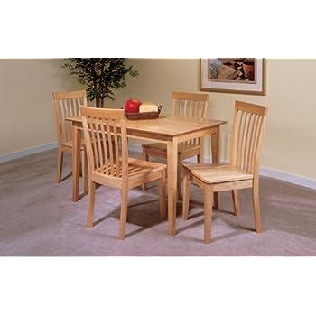 5 pc set natural solid pine wood dining room for Kitchen set natural