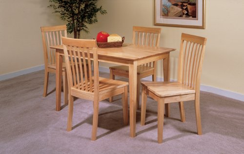 Amazoncom 5 PC Set Natural Solid Pine Wood Dining Room Kitchen