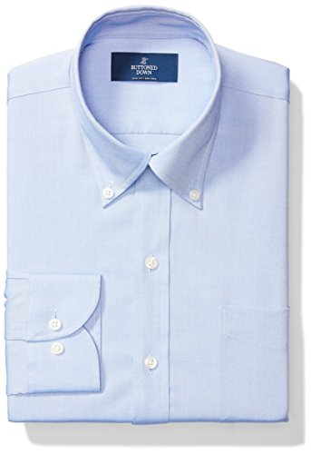 BUTTONED DOWN Men's Slim Fit Button-Collar Solid Non-Iron Dress Shirt (Pocket), Blue, 16