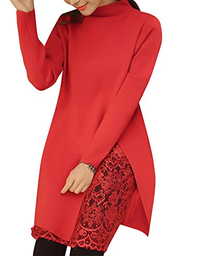 longue Cardigans Chandail Pull longue Manche Casual Sweaters Robe Rose Tricot Mi Femmes ZxnSqE7x