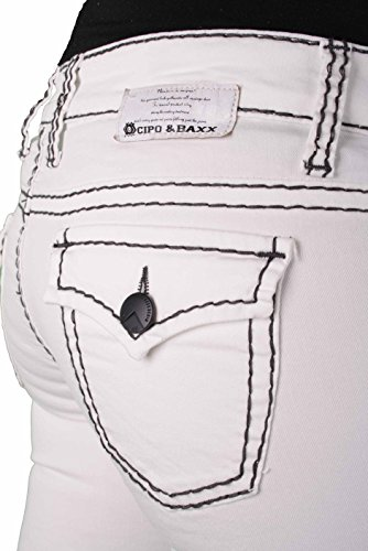 Cipo & Baxx Damen Naht Jeans Hose Jeanshose weiß