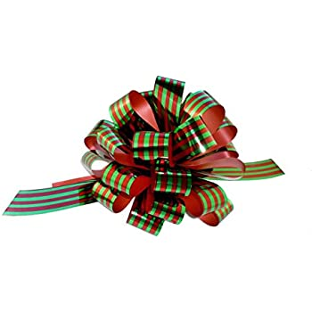 "Metallic Red & Green Pull Bows with Tails - 8"" Wide, Set of 6, Christmas Ribbon for Gifts, Wreaths, and Swags"