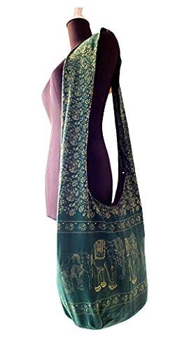 Long Hip Bag, Cross Shoulder Bag, Yaam, Beach, Hippie, Goa, Hobo Lightweight Elephant Design-dark - Goa Light
