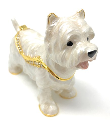 Kubla Crafts Enameled West Highland Terrier Dog Trinket Box, Accented with Austrian Crystals