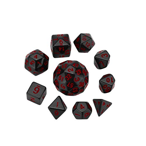 TIANMI 10Pcs Party For Game Dungeons & Dragons Polyhedral D60 Multi Sided Acrylic Dice