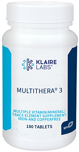 (Klaire Labs MultiThera 3 Iron- and Copper-Free - High Potency Multivitamin/Multimineral, No Copper and No Iron (180 Tablets))