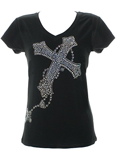 DivaDesigns Women's Gorgeous Multi Celtic Cross Rhinestone Bling T-Shirts Large (Cross Celtic T-shirt Fitted)