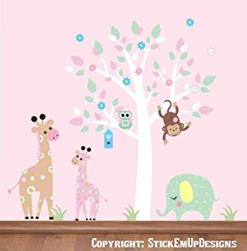 Amazoncom Cute Nursery Wall Decals Pastel Colored Decals - Nursery wall decals jungle