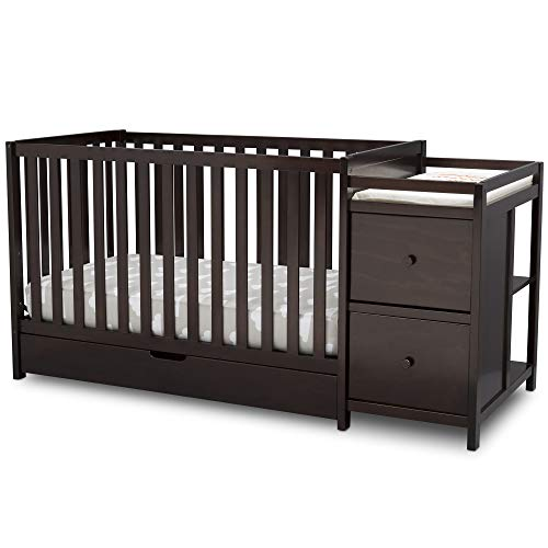 Delta Children Heartland Convertible Baby Crib N Changer with Drawer, Dark Chocolate ()